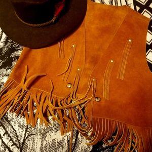 vinatge Leather fringe vest